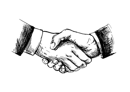 29299196 - drawing shake hands  vector illustration